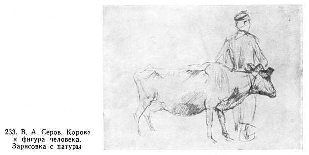 Корова и фигура человека. Зарисовка